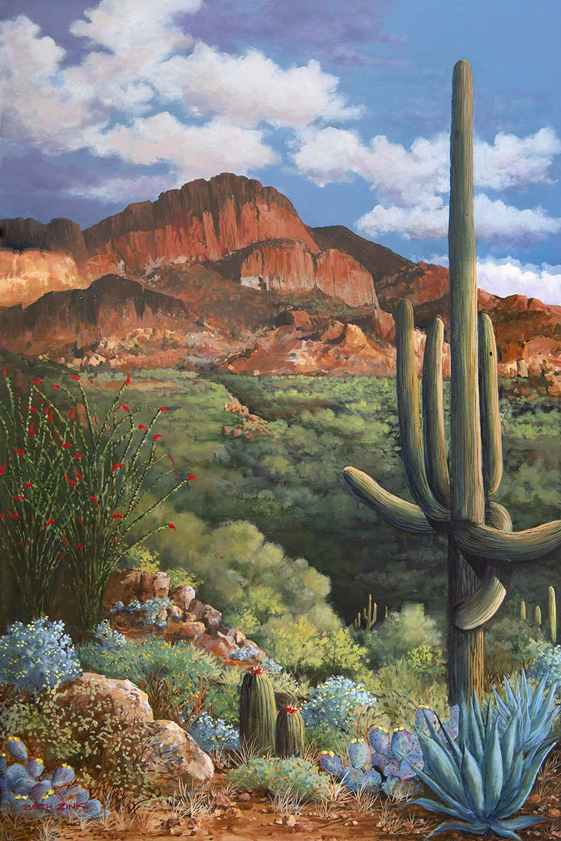 beth zink painting with cactus plants and mountain in background