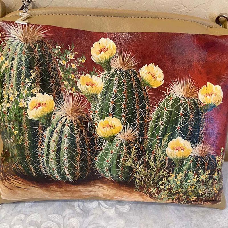 painted purse with cactus with yellow flowers
