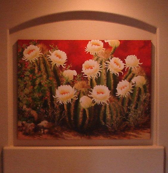 beth zink art in homes cactus with white flowers blooming